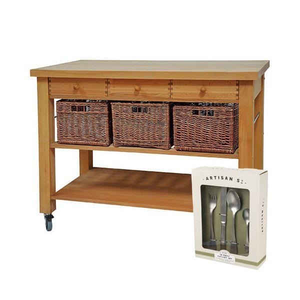 Eddingtons Lambourn Three Drawer Kitchen Trolley with FREE Gift