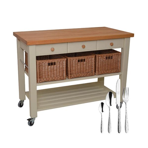 Eddingtons Lambourn Three Drawer French Grey Kitchen Trolley with FREE Gift