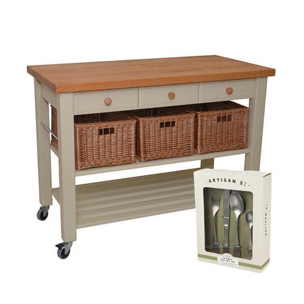 Eddingtons Lambourn Three Drawer French Grey Kitchen Trolley with FREE Gift