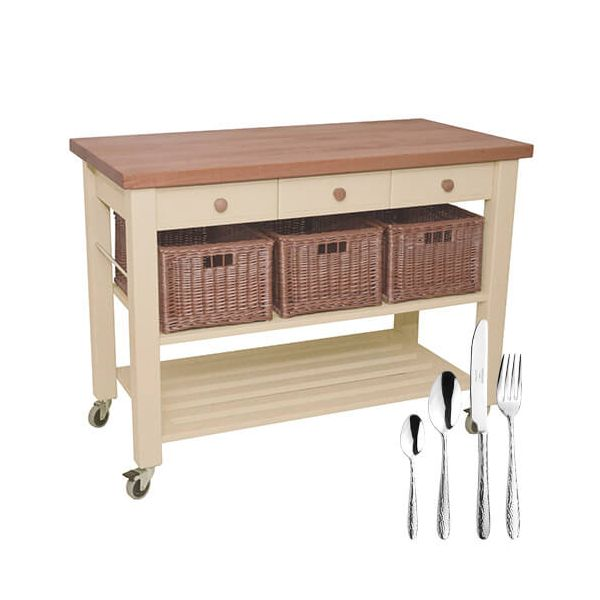 Eddingtons Lambourn Three Drawer Buttercream Kitchen Trolley with FREE Gift