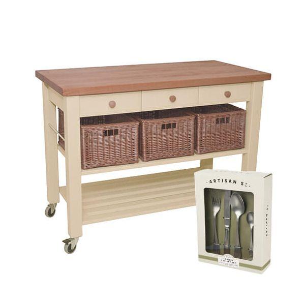 Eddingtons Lambourn Three Drawer Buttercream Kitchen Trolley with FREE Gift