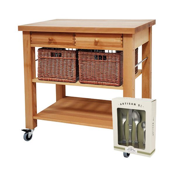 Eddingtons Lambourn Two Drawer Kitchen Trolley with FREE Gift