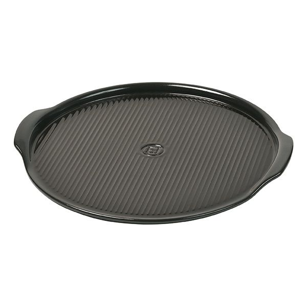Emile Henry Charcoal Large Ridged Pizza Stone 40cm