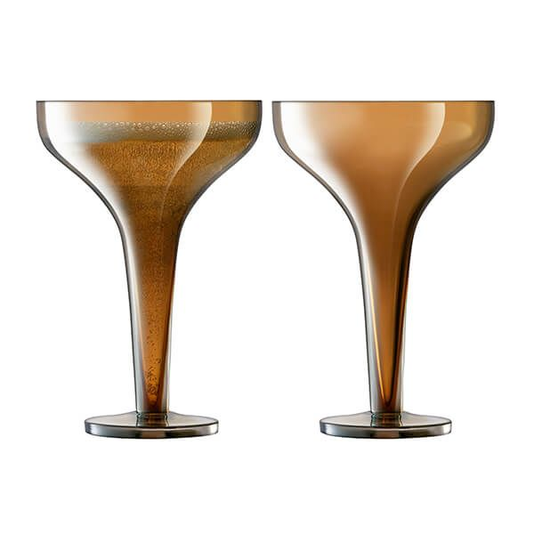 LSA Epoque Champagne Saucer 150ml Amber/Lustre Set Of Two
