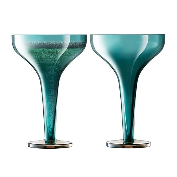LSA Epoque Champagne Saucer 150ml Peacock/Lustre Set Of Two