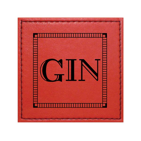 Raising Spirits Red Faux Leather Gin Coaster