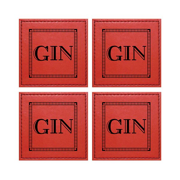 Raising Spirits Red Faux Leather Gin Coaster, Pack Of 4