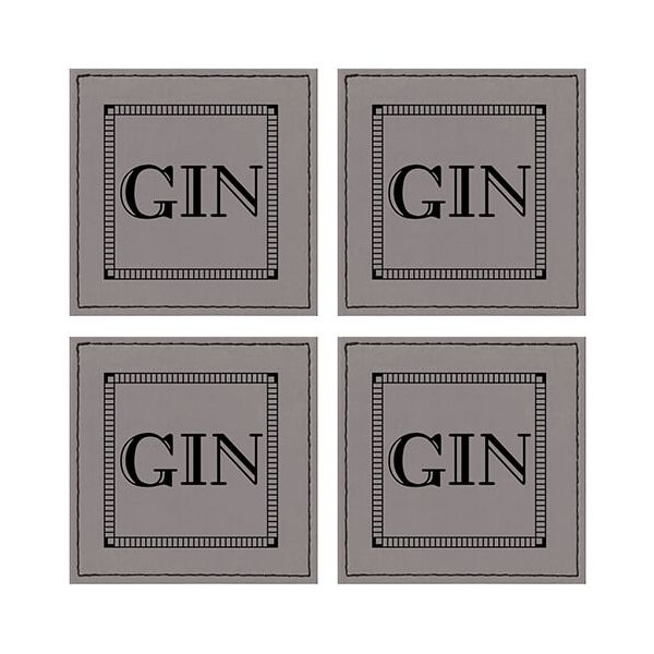 Raising Spirits Grey Faux Leather Gin Coaster, Pack Of 4