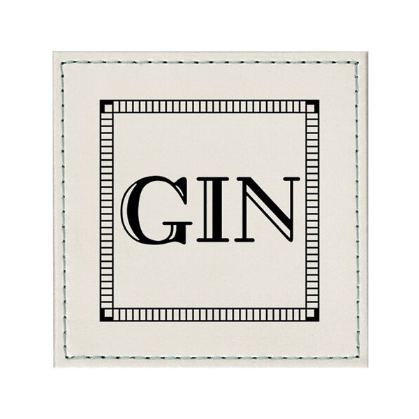Raising Spirits White Faux Leather Gin Coaster