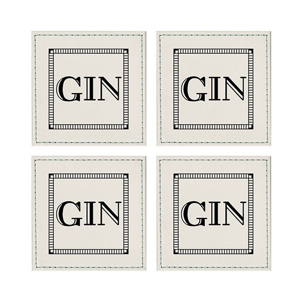 Raising Spirits White Faux Leather Gin Coaster, Pack Of 4