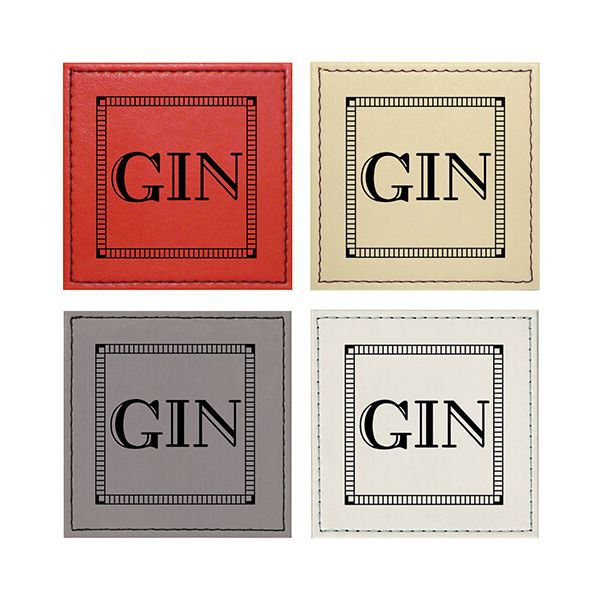 Raising Spirits Mixed Faux Leather Gin Coasters, Pack Of 4
