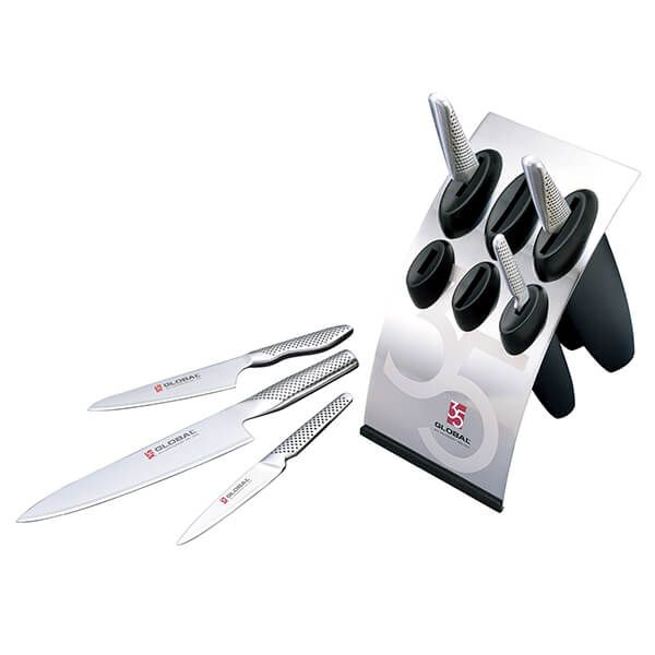 Global G-886B35AN 35th Anniversary 7 Piece Knife Block Set