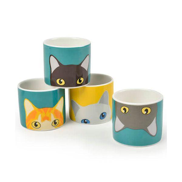 Burgon & Ball Creaturewares Doris Cat Set of 4 Fine China Egg Cups