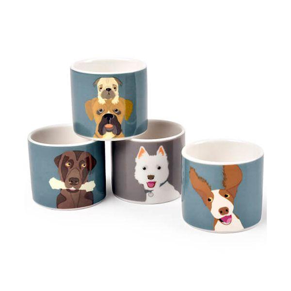 Burgon & Ball Creaturewares The Rabble Dog Set of 4 Fine China Egg Cups