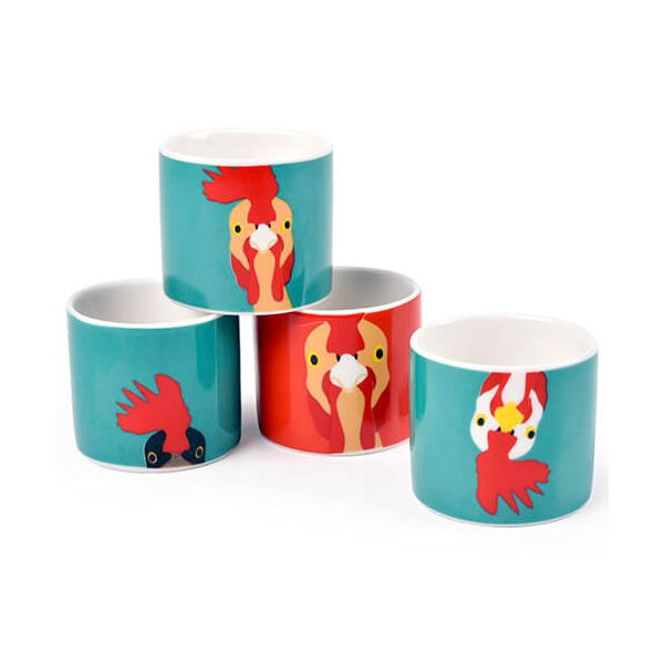 Burgon & Ball Creaturewares Plucky Chicken Set of 4 Fine China Egg Cups