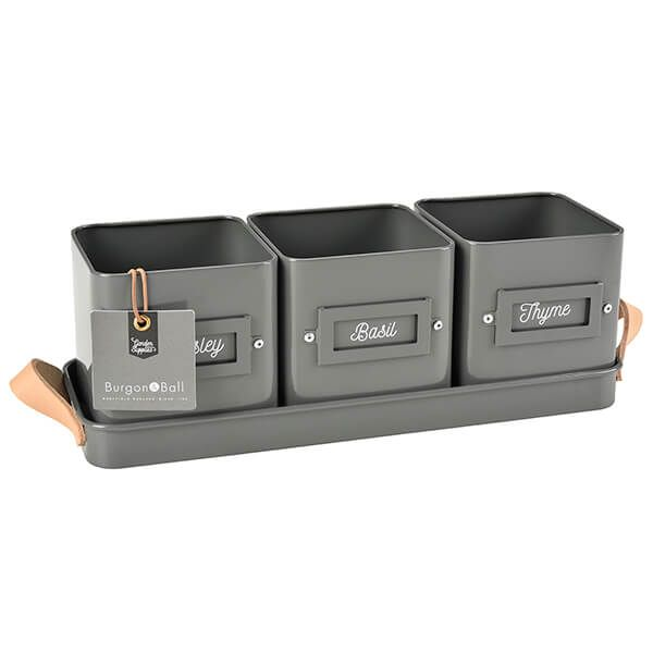 Burgon & Ball 3 Herb Pots in a Leather Handled Tray - Charcoal