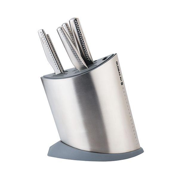 Global NI 6 Piece Knife Block Set Stainless Steel