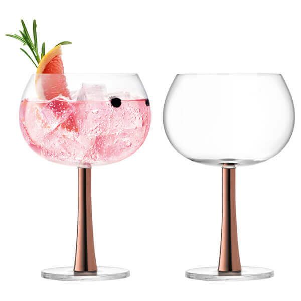 LSA Gin Balloon Glass 420ml Copper Set Of 2