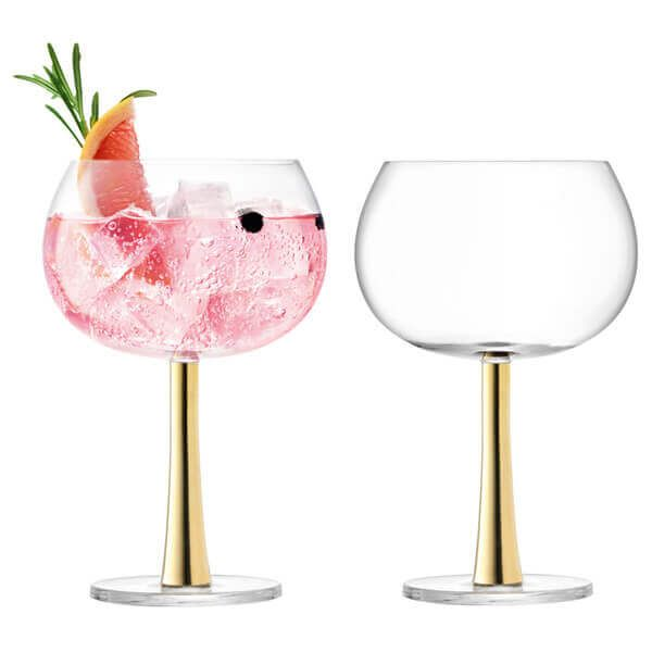 LSA Gin Balloon Glass 420ml Gold Set Of 2
