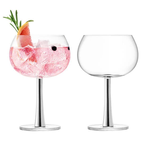 LSA Gin Balloon Glass 420ml Platinum Set Of 2