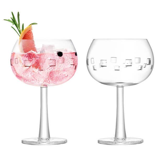 LSA Gin Balloon Glass 420ml Cube Cut Set Of 2