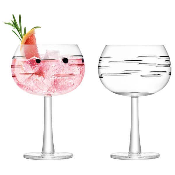 LSA Gin Balloon Glass 420ml Dash Cut Set Of 2
