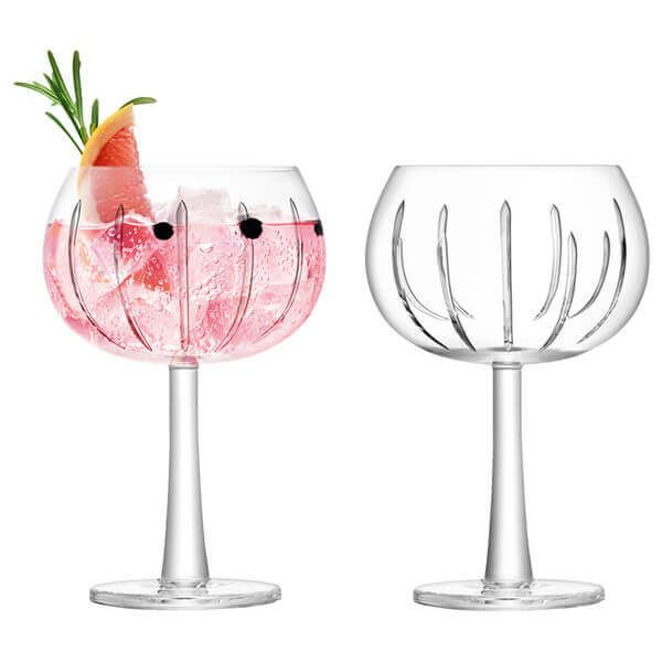 LSA Gin Balloon Glass 420ml Ray Cut Set Of 2
