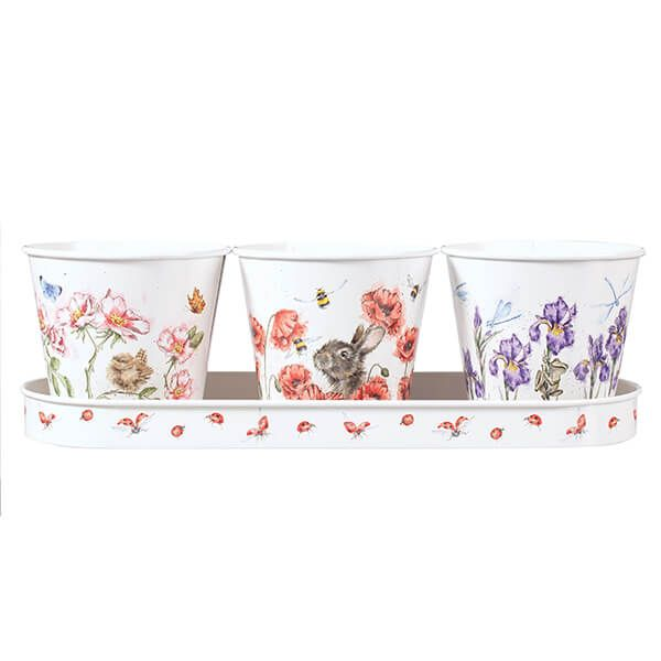 Wrendale Designs Floral Herb Pots Set of 3 With Tray