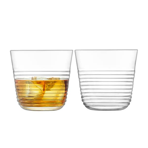 LSA Groove Tumbler 330ml Clear Set of Two
