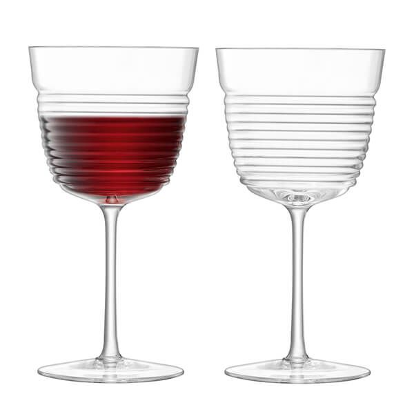 LSA Groove Wine Goblet 360ml Clear Set of Two