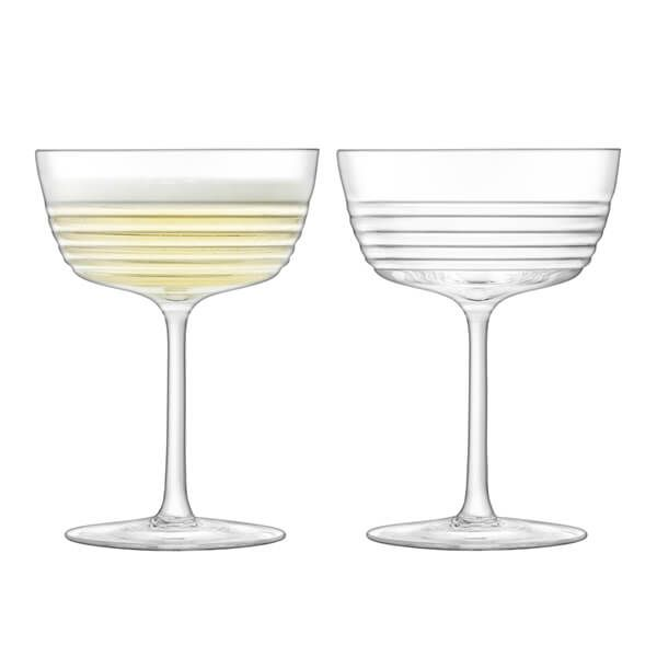 LSA Groove Champagne/Cocktail Glass 265ml Clear Set of Two