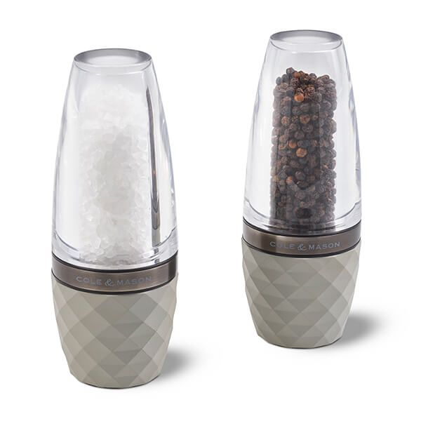 Cole & Mason Precision+ Stemless City Concrete Clear Salt & Pepper Mill Gift Set with Gunmetal Band