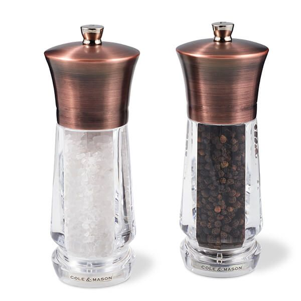 Cole & Mason Precision+ Exford Clear Antique Brass Salt & Pepper Mill Gift Set