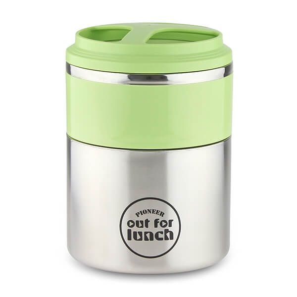 Pioneer Vacuum Lunch Box Green Lid With Double Compartment