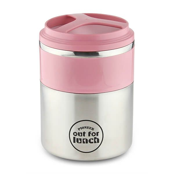 Pioneer Vacuum Lunch Box Pink Lid With Double Compartment