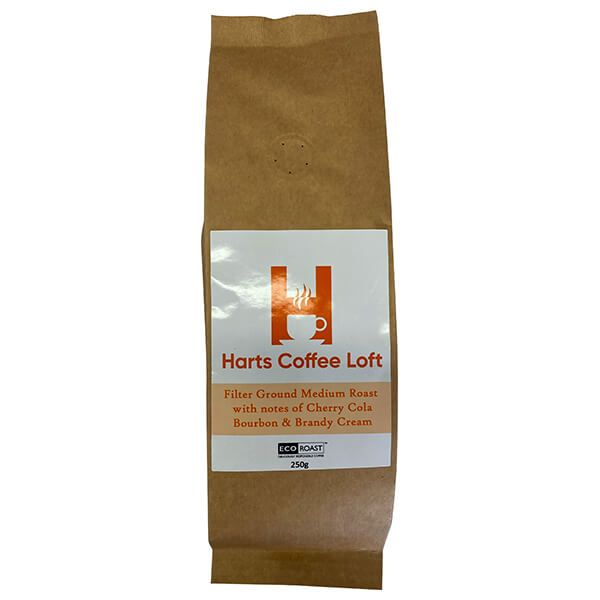Harts Coffee Loft 250g Filter Ground Medium Roast with notes of Cherry Cola, Bourbon & Brandy Cream