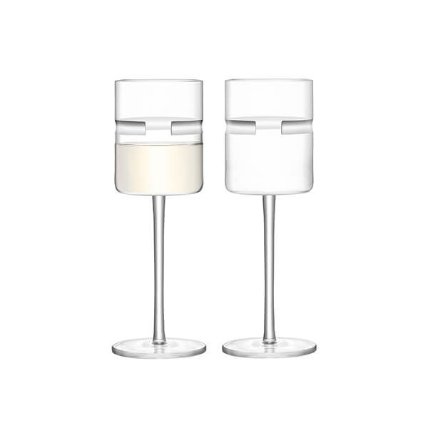 LSA Horizon White Wine Glass 260ml Clear & Cut Set Of Two