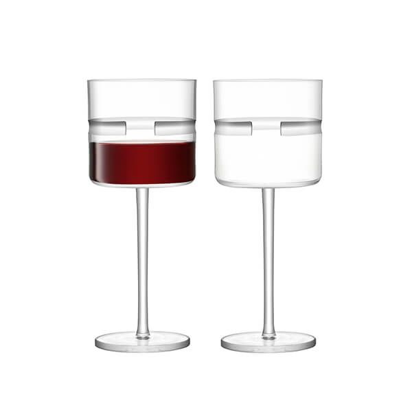 LSA Horizon Red Wine Glass 390ml Clear & Cut Set Of Two
