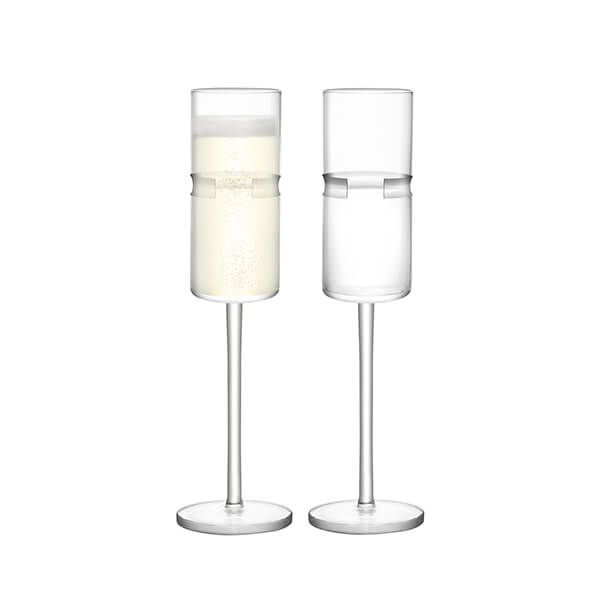 LSA Horizon Champagne Flute 180ml Clear & Cut Set Of Two