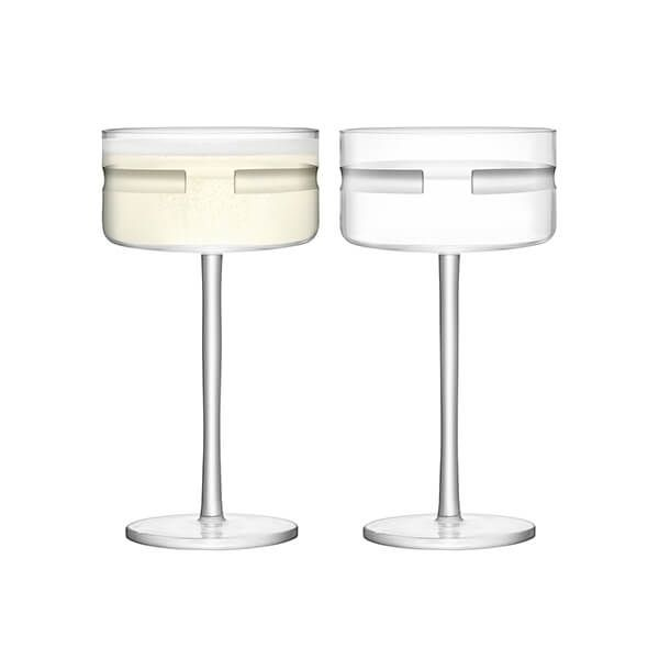 LSA Horizon Champagne & Cocktail Saucer 290ml Clear & Cut Set Of Two