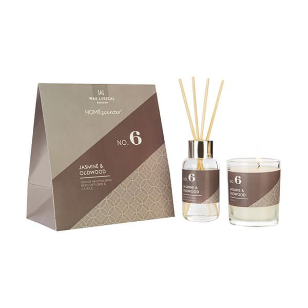 Wax Lyrical Homescenter Jasmine & Oudwood Candle & Reed Diffuser Gift Set