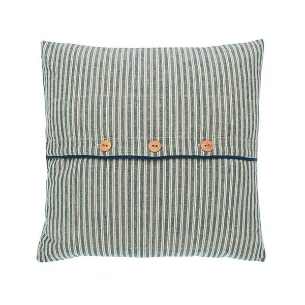 Walton & Co Hampton Stripe Button Cushion Poly Filled