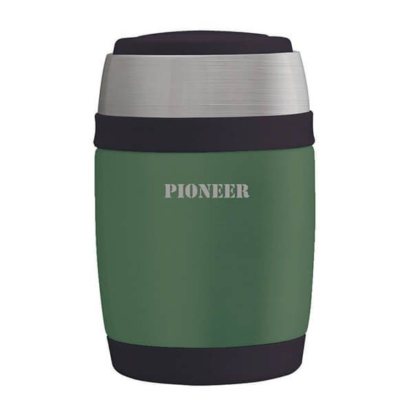 Pioneer 380ml Food Flask with Spoon Metallic Green