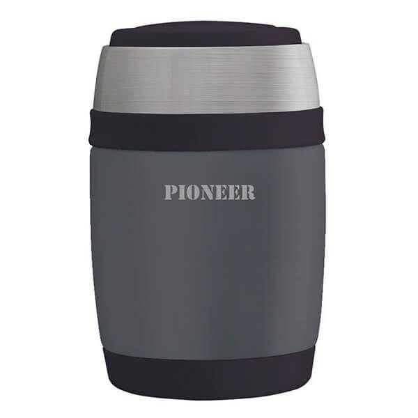 Pioneer 480ml Food Flask with Spoon Metallic Grey