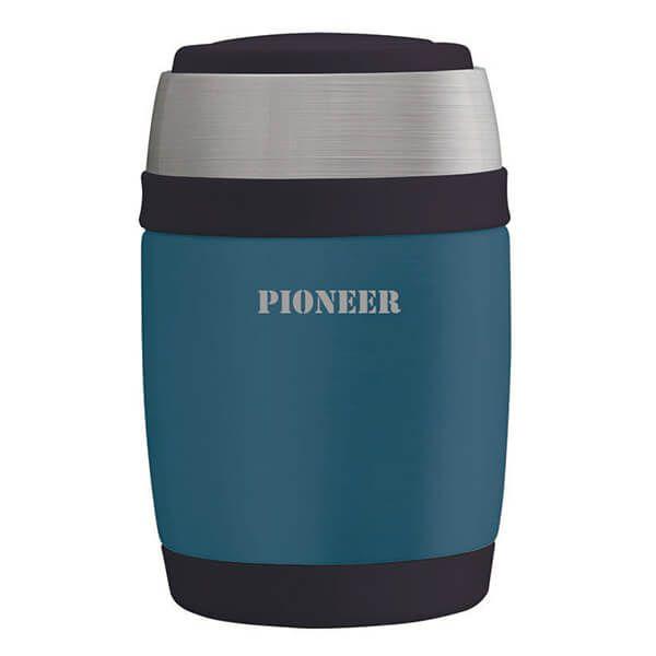 Pioneer 480ml Food Flask with Spoon Metallic Blue