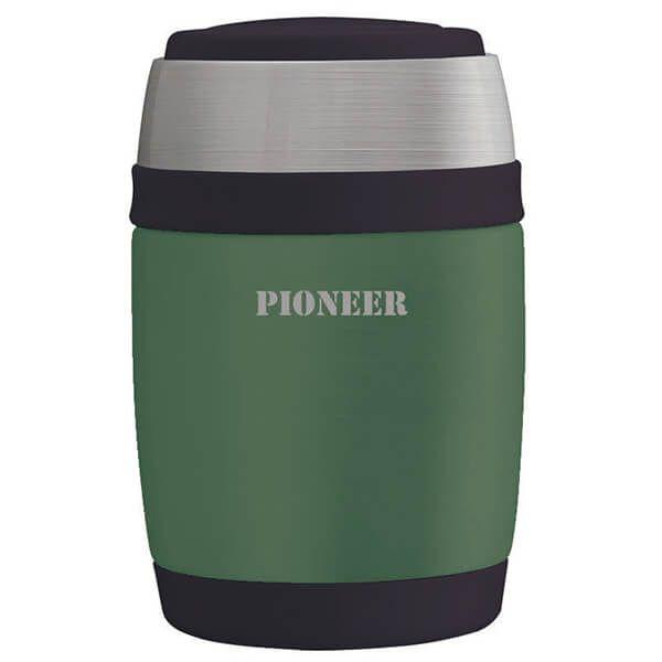Pioneer 580ml Food Flask with Spoon Metallic Green