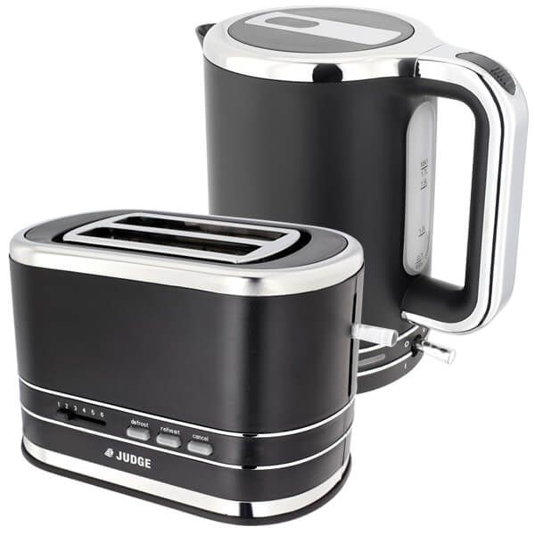 Judge Satin Black Cordless Kettle & 2 Slice Toaster