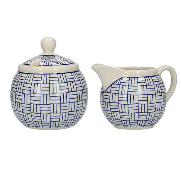 London Pottery Sugar and Creamer Set Lattice
