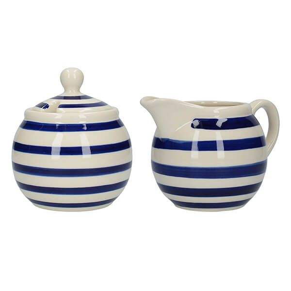 London Pottery Sugar and Creamer Set Blue Bands