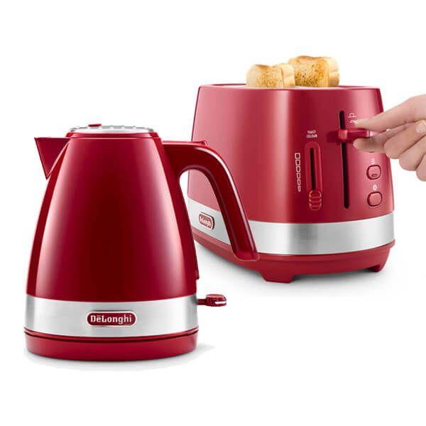 Delonghi Active Line Kettle & 2 Slot Toaster Set Red
